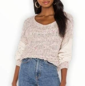 Free People Honey Cable Pullover Sweater Sz M